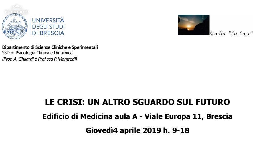 """Convegno""""Le Crisi: un altro sguardo sul futuro"""" 04/04/2019"""